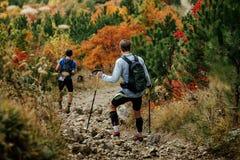 2 haikers спускают от горной тропы Стоковое фото RF
