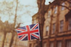 Hail Britania. A small Union Jack flag in the streets of Bath, UK Stock Images