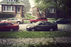 Hail in Chicago. During spring afternoon royalty free stock images