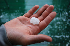 Hail in hand Royalty Free Stock Photo