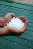 Hail in hand. Picture of a  after heavy hailstorm Royalty Free Stock Photography