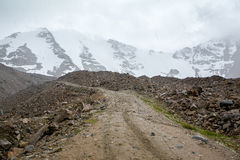 Hail on the road to Tosor pass. Tien Shan Stock Photography