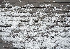 Hail on the Roof. After Heavy Storm with Hail. Roof Closeup stock image