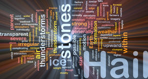 Hail stones background concept glowing. Background concept wordcloud illustration of hail stones weather glowing light Stock Image