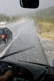 Hail storm. Driving in a dangerous road during a hail storm in Greece Royalty Free Stock Photography