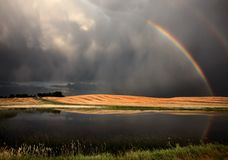 Hail Storm and Rainbow. In Saskatchewan Canada royalty free stock images