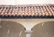 Hail storn detail on house  roof. Hail storn detail on residential house, roof and balcony areas Stock Photography