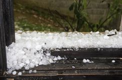 Hail on window stock images