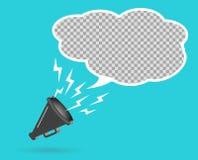 hailer för megafon som 3D högt talar för att vända Begreppet av annonsering av rabatten, bubbla Solida vågor riktas vektor vektor illustrationer