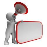 Hailer rumoroso e messaggio in bianco o Announ dello spazio della copia di manifestazioni del cartello Fotografie Stock
