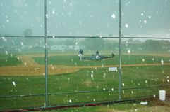 Hailing at Baseball. A freak hailstorm at the Pan Pacific Masters Games at the Gold Coast in Queensland, Australia Stock Photography
