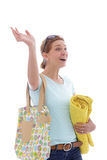 Hailing woman Stock Images