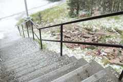 Hailstone on the stair Stock Image