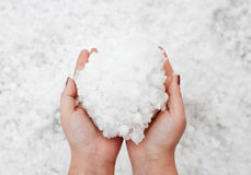 Hailstorm in the hands Royalty Free Stock Photography