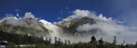 Hailuogou national glacier forest park. Hailuogou (Conch Gully) National Glacier Forest Park is located on the eastern side of Gonggar Mountain in Sichuan royalty free stock photos