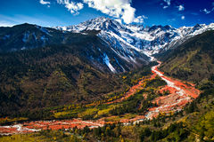 Hailuogou red stone beach. The red stone beach of Mount Gongga in Hailuogou (Conch Gully) National Glacier Forest Park in China. Mount Gongga is high 7556m, is Stock Photography
