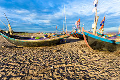 HAILY, NAMDINH, VIETNAM - AUGUST 10, 2014 - Fishing boats waiting at shore. Stock Image