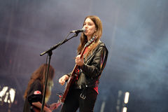 Haim (American pop rock band from Los Angeles, California) in concert at Heineken Primavera Sound 2014 Festival. BARCELONA - MAY 30: Haim (American pop rock band Royalty Free Stock Photography