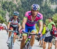Haimar攀登Alpe D'Huez的Zubeldia 库存照片