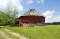 Haimbaugh round barn. Located in Fulton County, Indiana near Athens. This barn has a concrete block foundation and a shed attached to it Stock Photos