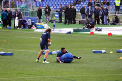 Haimona warm up. Kelly haymona during the warm up before the rbs rugby match italy vs ireland royalty free stock photo