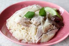 Hainan chicken rice. Asian style hainan chicken rice closeup Stock Photography