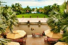 Hainan, China - 29 de junho de 2018: Vista bonita da associação no hotel de Kempinski na ilha de Hainan imagens de stock royalty free