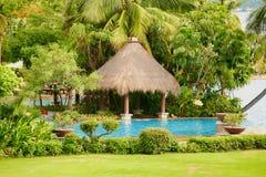 Hainan, China - 29 de junho de 2018: Vista bonita da associação no hotel de Kempinski na ilha de Hainan foto de stock