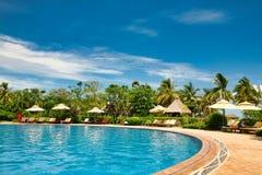 Hainan, China - 29 de junho de 2018: Vista bonita da associação no hotel de Kempinski na ilha de Hainan fotografia de stock royalty free