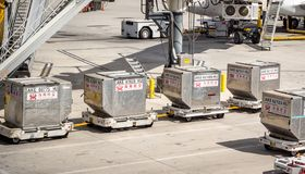 Hainan Chinese Air freight cargo boxes sitting on tarmac at Las Vegas McCarran Airport stock photography