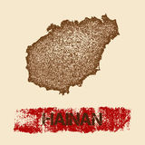 Hainan distressed map. Stock Photos