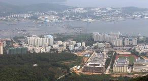 Hainan island in China. Aerial view of Hainan island and Qiongzhou Strait, China Royalty Free Stock Photo