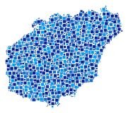 Hainan Island Map Collage of Squares. Hainan Island map mosaic of randomized dots in various sizes and blue color tints. Vector small square are arranged into Royalty Free Stock Image