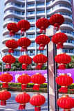 Hainan island in Shenzhou Peninsula, China - February 16, 2017: Street view with many Chinese red lanterns Stock Image