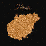 Hainan map filled with golden glitter. Stock Photography