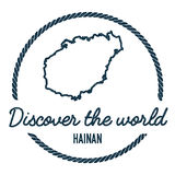 Hainan Map Outline. Vintage Discover the World. Royalty Free Stock Photos