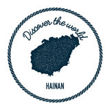 Hainan map in vintage discover the world insignia. Royalty Free Stock Image