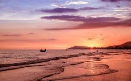 Hainan. Sunset on the south-china sea, Hainan - tropical island in China Royalty Free Stock Photos