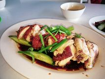 hainanese ρύζι κοτόπουλου Τρόφιμα οδών στοκ εικόνες