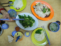 Hainanese Chicken and Gai Lan Stock Photos