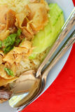 Hainanese chicken rice. On plate and table Royalty Free Stock Photos