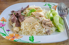 Hainanese chicken rice. (Asian food Stock Images
