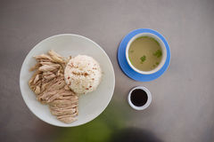 Hainanese chicken rice with broth Royalty Free Stock Photo
