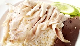 Hainanese chicken rice. Delicious Asia - Asian eating food. Hainanese chicken rice or Steamed chicken in flavored rice. Served with bean paste sauce and cucumber Stock Photography