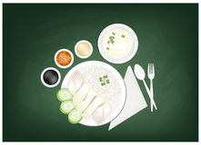 Hainanese Chicken Rice On A Green Chalkboard Stock Photography