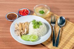 Hainanese chicken rice stock images