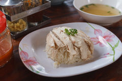 Hainanese chicken rice. Name in thaiKhawman Ki, Thai gourmet steamed chicken with rice,Thai style food Stock Image