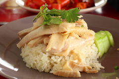 Hainanese Chicken Rice. In plate Royalty Free Stock Photos