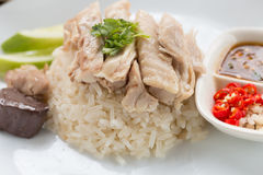 Hainanese chicken rice. With sauce Royalty Free Stock Photos