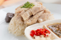 Hainanese chicken rice Royalty Free Stock Images